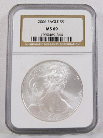 2006 1 Dollar .999 Fine 1 Oz. Silver Eagle Graded MS 69 By NGC