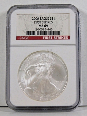 2006 American Silver Eagle*First Strikes*Graded MS69 by NGC*1oz .999 Fine Silver