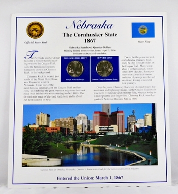 2006-P and 2006-D Uncirculated Nebraska Commemorative State Quarters with 2 Stamps encased in Storyboard
