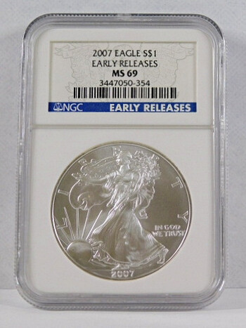 2007 .999 Fine Silver Eagle Graded MS 69 By NGC Early Releases