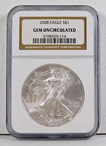 2008 American Silver Eagle*Graded Gem Uncirculated by NCG*1oz .999 Fine Silver