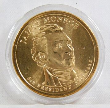 2008-P James Monroe Commemorative Presidential Dollar - Uncirculated in Original Capsule
