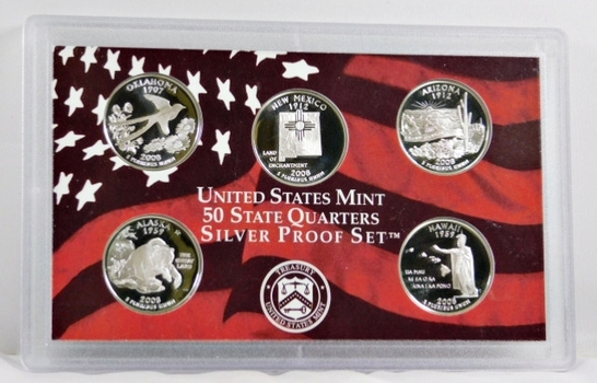 2008-S United States Mint State Quarters Silver Proof Set - No Box Available but in Original Mint Holder