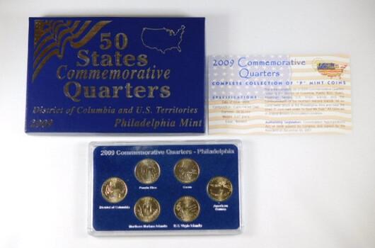 2009 Commemorative Quarters Uncirculated Philadelphia 6 Coins