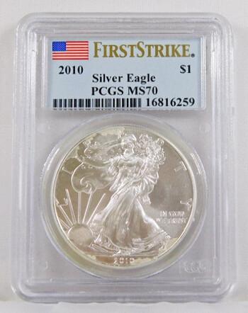2010 1 Dollar .999 Fine 1 Oz. Silver Eagle Graded MS 70 By PCGS First Strike