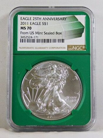 2011 American Silver Eagle*25th Anniversary of American Eagles*Graded MS 70 by NGC