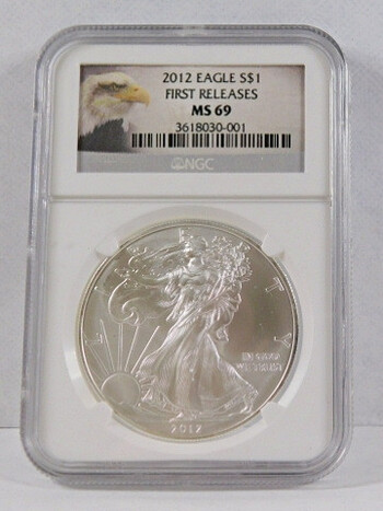 2012 .999 Fine Silver Eagle Graded MS 69 By NGC First Releases With Eagle Lable