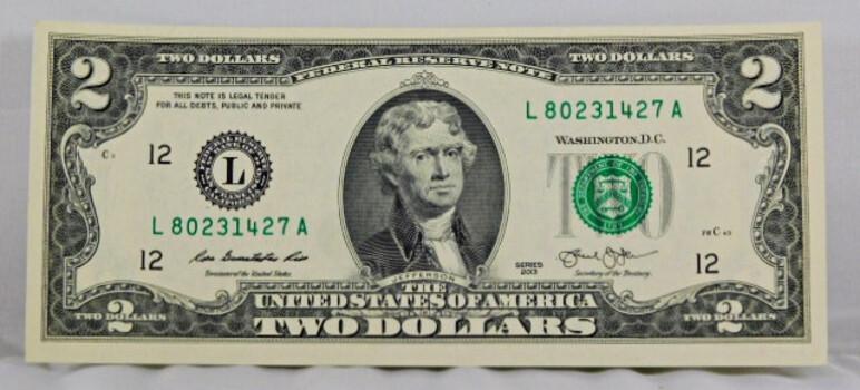 2013 2 Dollar Bill Crisp High Grade Note