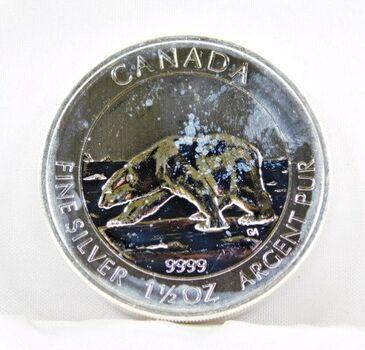 2013 Canada 1 1/2 Oz. Silver Polar Bare 8 Dollars .9999 Fine Silver