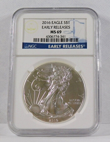 2016 .999 Fine Silver Eagle Graded MS 69 By NGC Early Releases