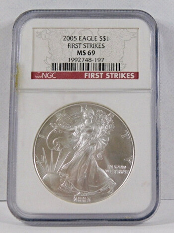 2016 .999 Fine Silver Eagle Graded MS 69 By NGC First Strike