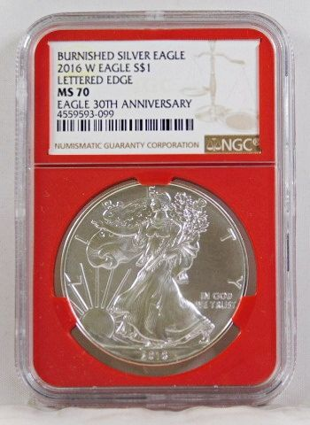 2016-W Burnished American Silver Eagle*Lettered Edge*Eagle 30th Anniversary*Graded MS70 by NGC