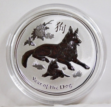 2018 Australia Silver $2 Coin*Year of the Dog*2oz .9999 Fine Silver*Reverse Proof