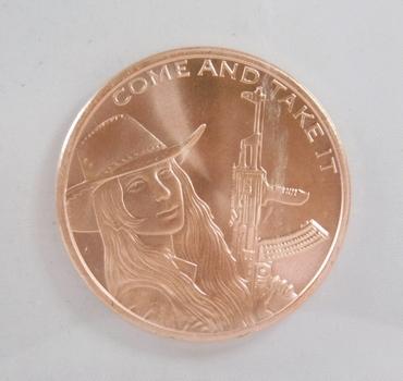 2021 Come and Take It - Silver Shield - One Ounce .999 Fine Copper Round
