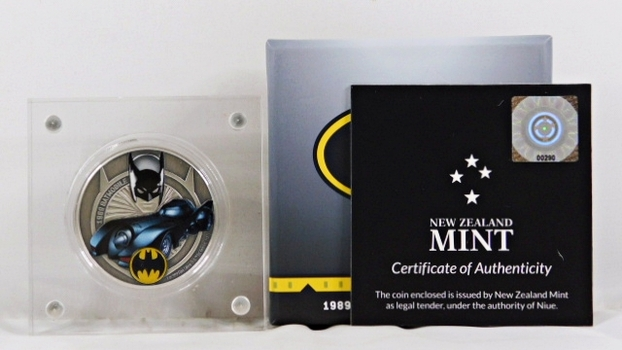 2021 Niue $2 Silver 1989 Batmobile Acrylic Encased*1oz .999 Fine Silver*Only 2,000 Pieces Minted*In Original Box