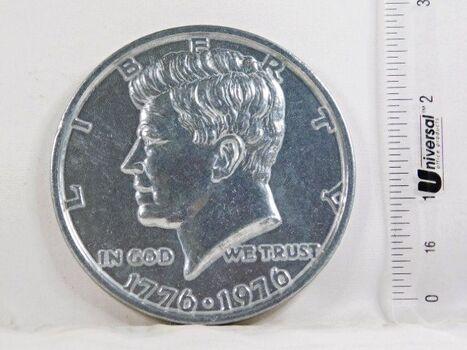 "3"" Oversized Metal Replica of a Bicentennial Kennedy Half Dollar"