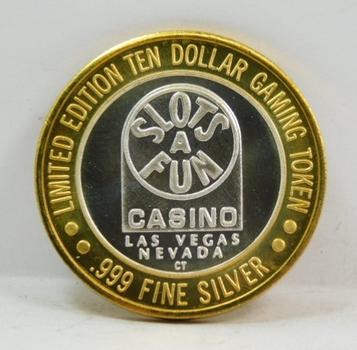 Silver Strike - .999 Fine Silver - Slots A Fun Casino - Limited Edition $10 Gaming Token  - Las Vegas, Nevada