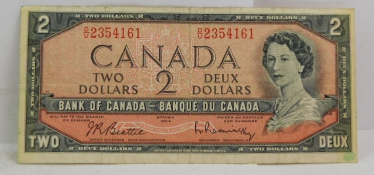 1954 Canada $2 Modified Hair Style Variety - Beattie/Rasminsky Signatures