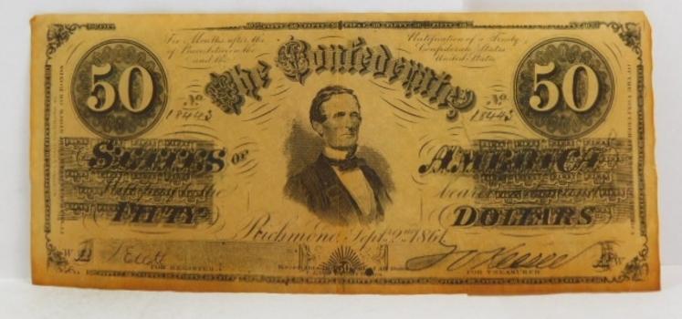 Replica 1861 $50 Confederate States of America Note