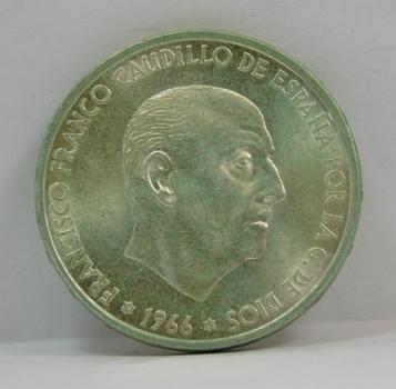1966 (67) Spain Silver 100 Pesetas - High Grade