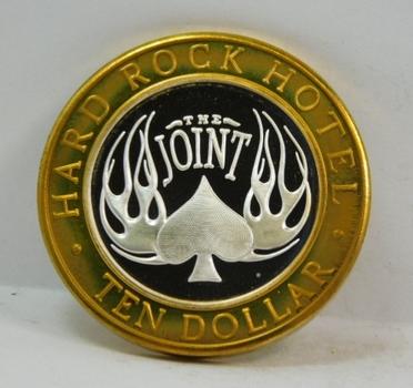 Silver Strike - .999 Fine Silver - The Joint Hard Rock Hotel - In Rock We Trust - $10 Gaming Token  - Las Vegas, Nevada