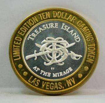 Silver Strike - .999 Fine Silver - Treasure Island at the Mirage  - Limited Edition $10 Gaming Token  - Las Vegas, Nevada