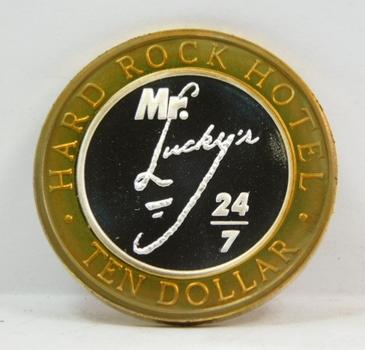 Silver Strike - .999 Fine Silver - Mr Lucky's Hard Rock Hotel - In Rock We Trust - $10 Gaming Token  - Las Vegas, Nevada