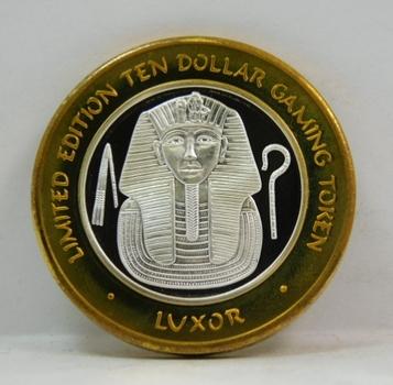 Silver Strike - .999 Fine Silver - Luxor  - Limited Edition $10 Gaming Token  - Las Vegas, Nevada