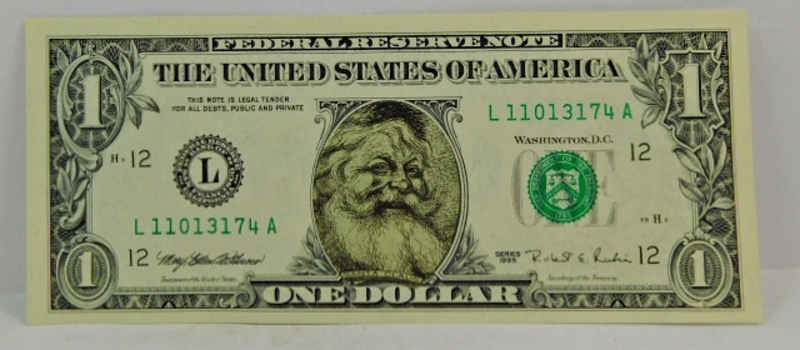 Ho ho ho! 1995 Crisp Uncirculated SANTA CLAUS $1 Bill-Issued By SAFEWAY FOODS-Comes In Inner & Outer Envelope- PERFECT STOCKING STUFFER!