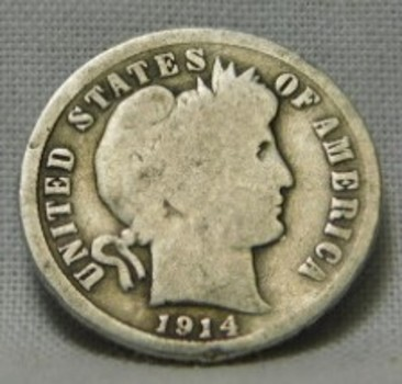 1914 Silver Barber Dime - Date Clearly Visible