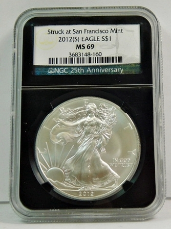 2012-S American Silver Eagle - Graded MS69 by NGC - San Francisco Minted