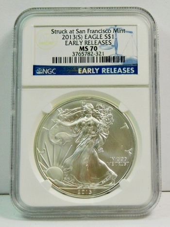 2013-S American Silver Eagle - Early Releases Coin - Graded MS70 by NGC - Struck by the San Francisco Mint - Pure White Coin