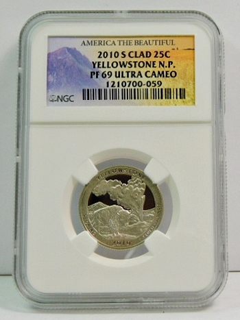 2010-S Clad Proof Yellowstone National Park Commemorative Quarter - Graded PF69 ULTRA CAMEO by NGC