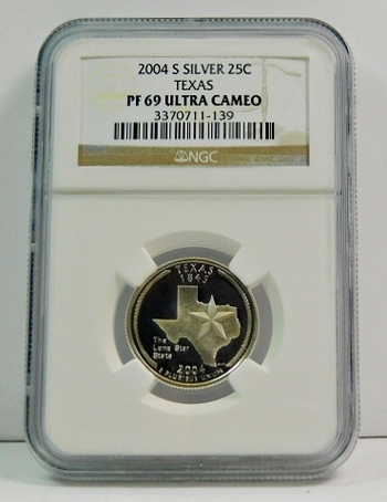 2004-S Proof Silver Texas State Commemorative Quarter - Graded PF69 ULTRA CAMEO by NGC