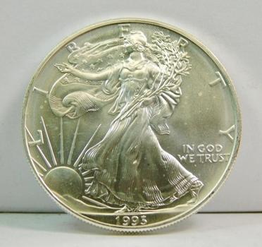SCARCER DATE 1993 $1 American Silver Eagle - 1 oz .999 Fine Silver
