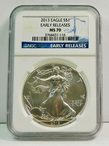 2013 American Silver Eagle - Early Releases Coin - Graded MS70 by NGC - Pure White Coin