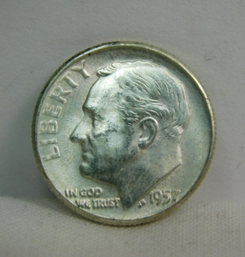 1957-Silver Roosevelt Dime - Excellent Detail and Luster - Philadelphia Minted Minted - High Grade