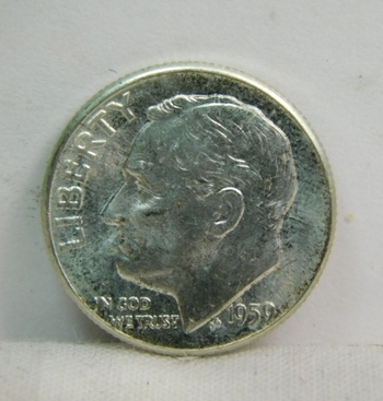 1959 Silver Roosevelt Dime - Excellent Detail and Luster - Philadelphia Minted - High Grade