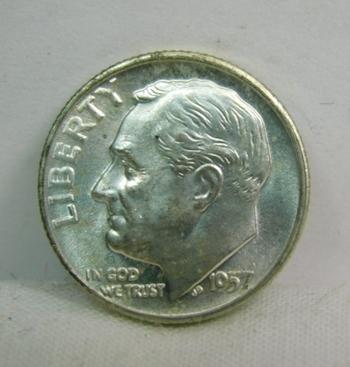 1957-D Silver Roosevelt Dime - Excellent Detail and Luster - Denver Minted - High Grade