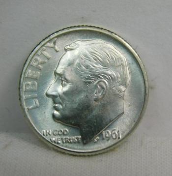 1961-D Silver Roosevelt Dime - Excellent detail and Luster - Denver Minted - High Grade Coin