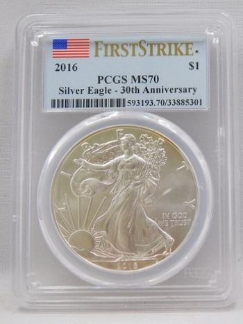 2016 American Silver Eagle - First Strike - 30th Anniversary of the Eagle - Graded MS70 by PCGS