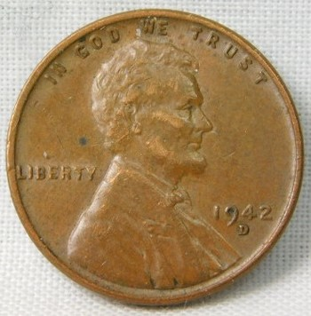1942-D Lincoln Wheat Cent - Lamination Error on Reverse