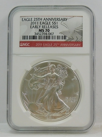 2011 American Silver Eagle - Early Releases Coin - Graded MS70 by NGC - 25th Anniversary of the Eagle - Pure White Coin