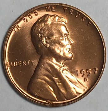 1957-D Gem Brilliant Uncirculated Red Lincoln Wheat Cent