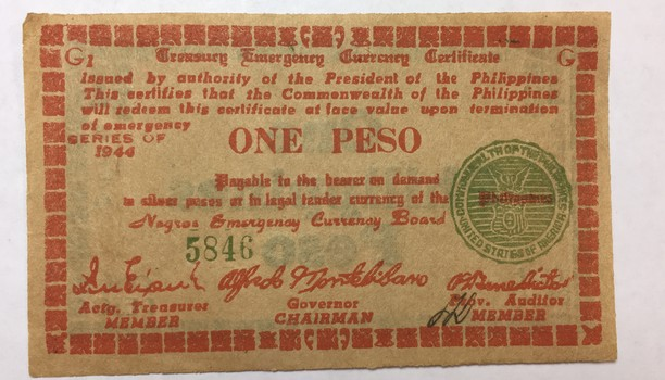 1944 Philippines One Peso World War II Negros Emergency Currency Board - Crisp Uncirculated