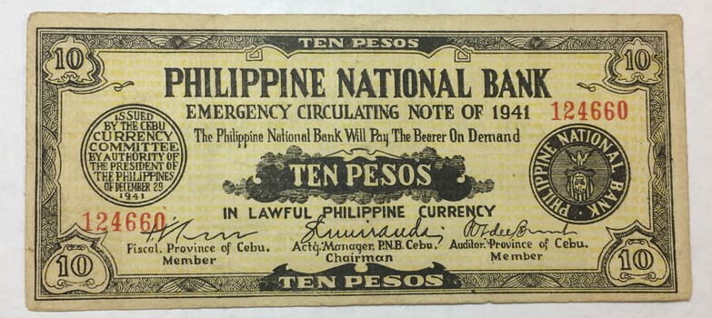 1941 Philippine National Bank 10 Pesos World War II Emergency Currency
