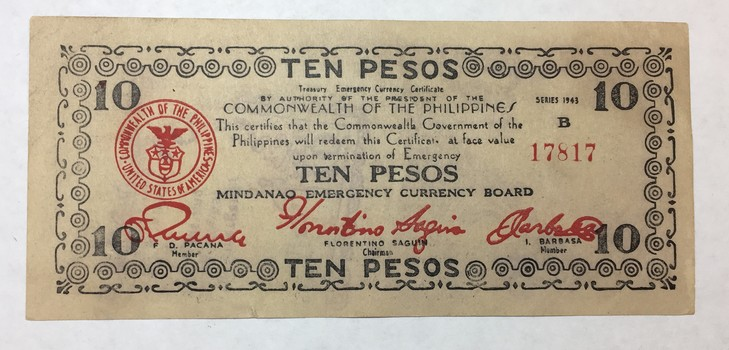 1944 Philippines 10 Pesos World War II Midanao Emergency Currency Board Note