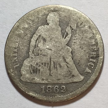 1862 Seated Liberty Silver Dime