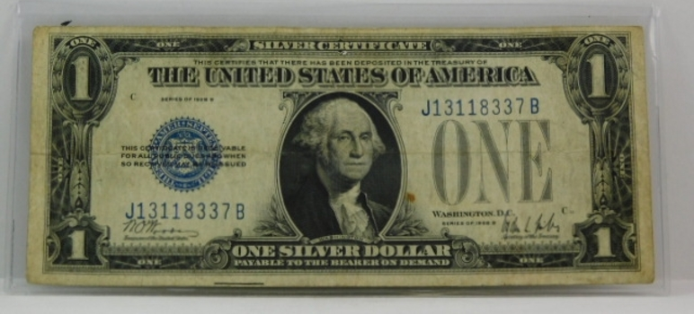 1928 A Funny Back $1 Note ABOVE AVERAGE Condition-Hard Currency Holder Included VERY NICE!
