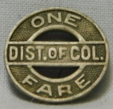D. of C. Capital Transit Token - One Dist. of Col. Fare